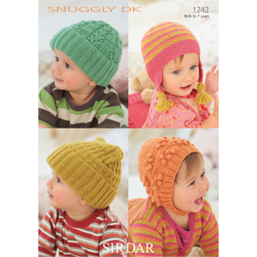 Sirdar Snuggly DK 1242 Baby's and Child's hat 0-7years Downloadable Knitting Pattern
