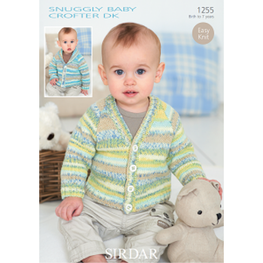 Sirdar Snuggly Baby Crofter DK 1255 Cardigans 0-7years Downloadable Knitting Pattern