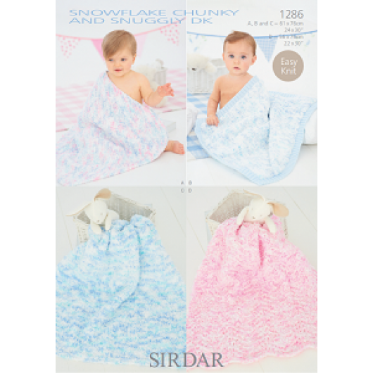 Sirdar Snowflake Chunky and Snuggly DK 1286 Blankets Downloadable Knitting Pattern