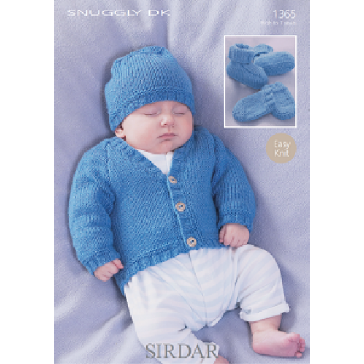 Sirdar Snuggly DK 1365 Cardigan, Hat, Bootees and Mittens 0-7 years Downloadable Knitting Pattern
