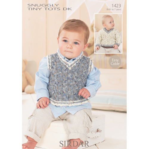 Sirdar Snuggly Tiny Tots DK 1423 Baby Boys Sweater and ...