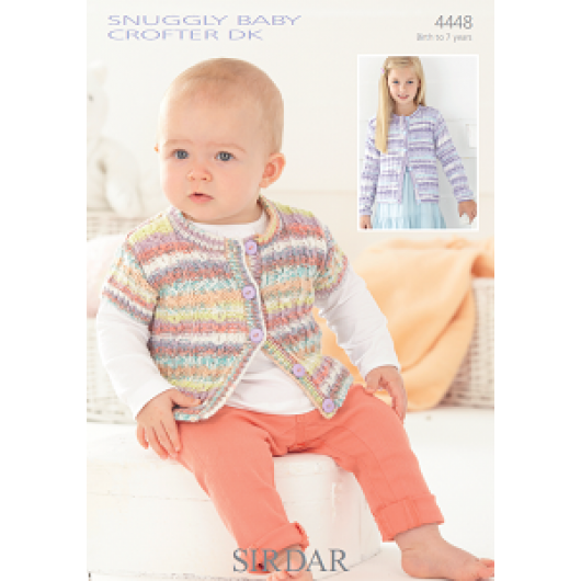 Sirdar Snuggly Baby Crofter DK 4448 Girls round neck Cardigan 0-7 years Downloadable Knitting Pattern