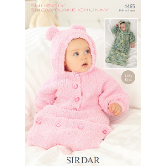 Sirdar Snuggly Snowflake Chunky 4465 All in One Sleeping Bag 0-2 years Downloadable Knitting Pattern