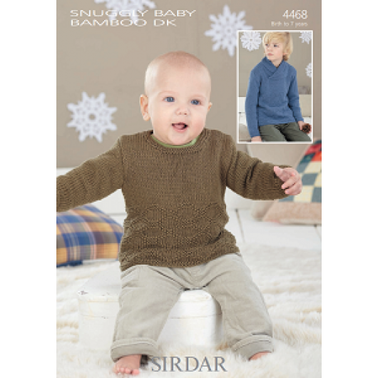 Sirdar Snuggly Baby Bamboo DK 4468 Boy's Sweater 0-7 years Downloadable Knitting Pattern