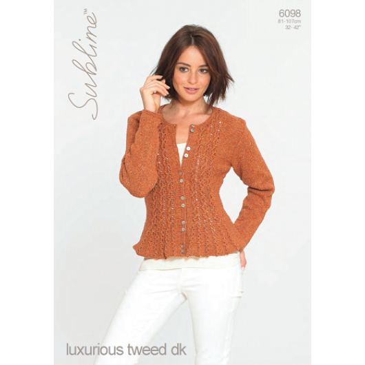 Sublime luxurious tweed dk 6098 Woman's Cardigan Adult Downloadable Knitting Pattern